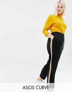 asos-curve-asos-design-curve-tapered-trousers-with-camel-contrast-side-panel-W4SNm35Qr2LVAVVjQBVic-300