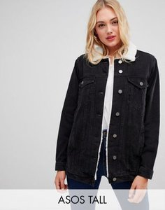 asos-tall-asos-design-tall-denim-jacket-with-borg-collar-in-washed-black-9HVg8Rmz12bXNjF6VQPvS-300