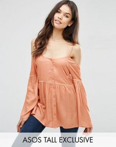 asos-tall-asos-tall-cold-shoulder-top-with-button-through-6tFL7iPJVRiSd3Rnz9f-300