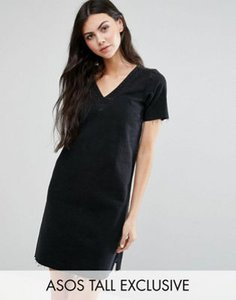 asos-tall-asos-tall-denim-v-neck-dress-with-raw-hem-in-washed-black-with-sleeve-jNFym9hJ9SYSd3rnVRL-300