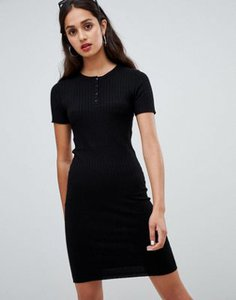 bershka-bershka-button-front-t-shirt-dress-in-black-TLQyUYpMo2hyLsaj74c2G-300