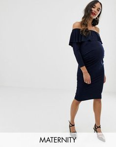 bluebelle-maternity-bluebelle-maternity-bardot-dress-with-frill-in-navy-aac4o3GkD27aFDnics3DQ-300