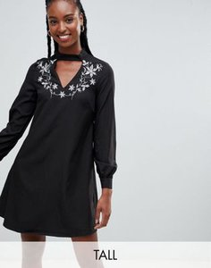 glamorous-tall-glamorous-tall-a-line-dress-with-embroidered-choker-neck-64Yj447S32rZFy2c5dSir-300