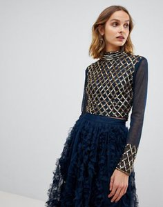 lace-and-beads-lace-beads-embellished-long-sleeve-crop-top-with-mandarin-collar-in-navy-teMfqR8fc2Sw2cpaXqeZo-300