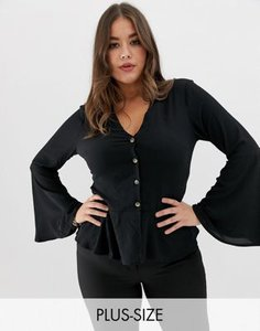 missguided-plus-missguided-plus-button-through-wide-sleeve-peplum-blouse-in-black-DjUGgNZtJ2y127PZpHd1R-300