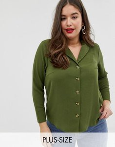 new-look-plus-new-look-curve-long-sleeve-utility-shirt-in-khaki-pNQUP74PE2hydsajg4tvP-300
