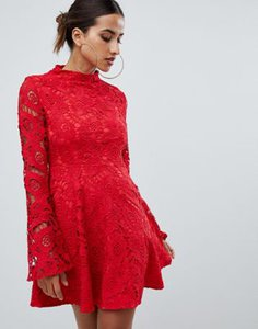 prettylittlething-prettylittlething-lace-fluted-sleeve-skater-dress-in-red-JYQyUYpMn2hyPsa7C4c2c-300