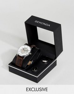 sekonda-sekonda-brown-skeleton-leather-watch-cufflinks-gift-set-FzSc6uxP42LVeVVNNBi75-300