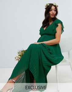 tfnc-maternity-tfnc-maternity-flutter-sleeve-bridesmaid-maxi-dress-with-pleated-skirt-in-forest-green-csXLM3r652E34M85iXfYy-300