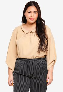 exotico-plus-size-3-4-sleeve-pleated-blouse-MC3qL4NcCx9AUdVZdnt7szvR32g2fwaGeVzY-300