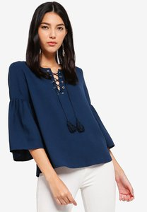 zalora-flare-sleeves-lace-up-top-ntPqh2b2NPBMHjngby5k6Ks83cPy9YKhDLbJ-300