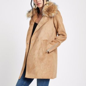 river-island-brown-faux-fur-collar-swing-coat-jtvP6w9T161xfBkdW4zurkK7trvHn-300
