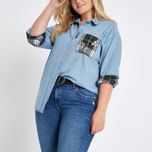 river-island-plus-check-patch-embellished-denim-shirt-qJrGLn18HrFazABTG48dzBLvgoAd6-300